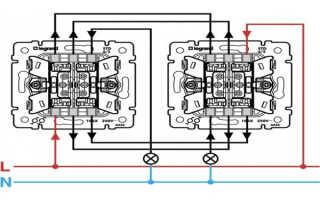 Схема подключения и принцип действия проходного двухклавишного выключателя и контактора